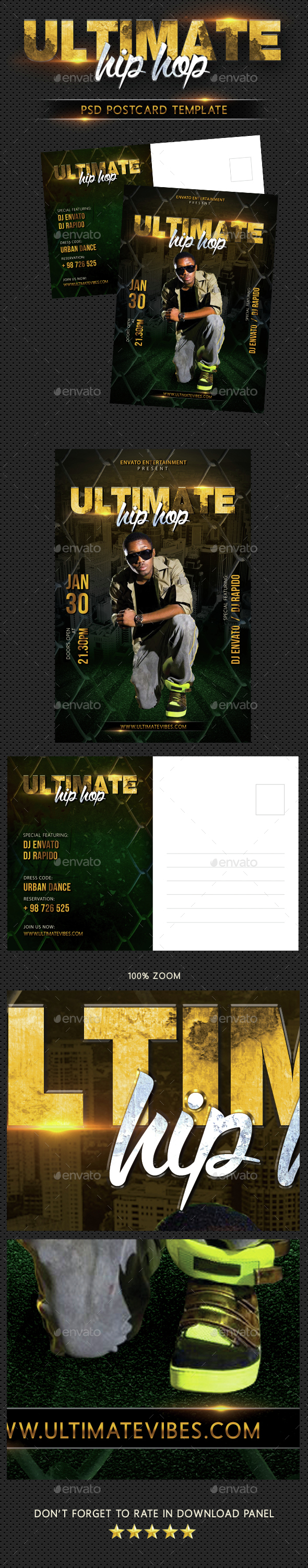 Hip Hop Ultimate Party Event Postcard - Cards & Invites Print Templates