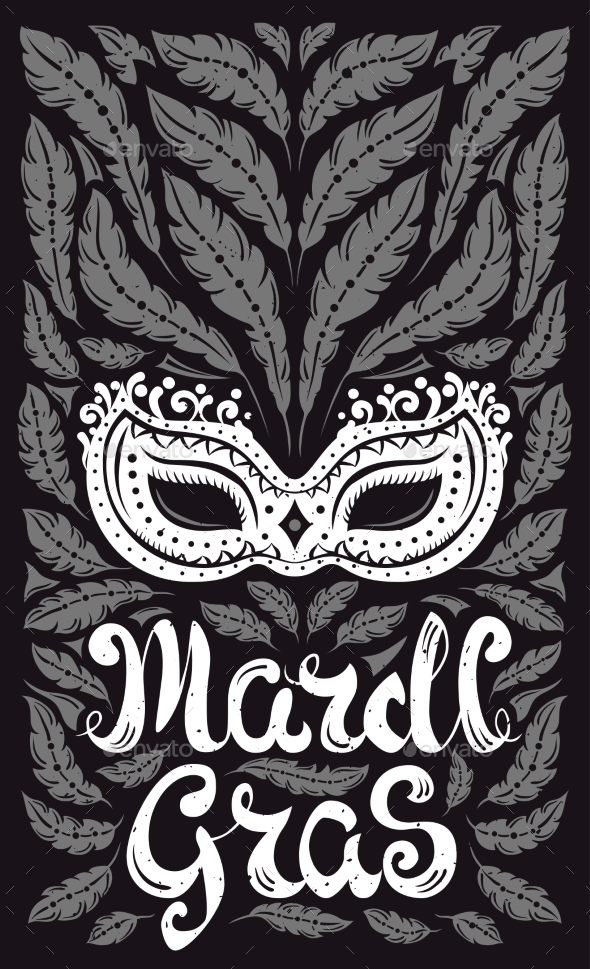 Mardi Gras Celebration Poster with Venetian Mask - Miscellaneous Seasons/Holidays