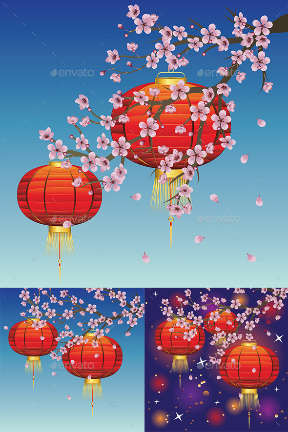 Chinese Lantern with Sakura Branch - Backgrounds Decorative