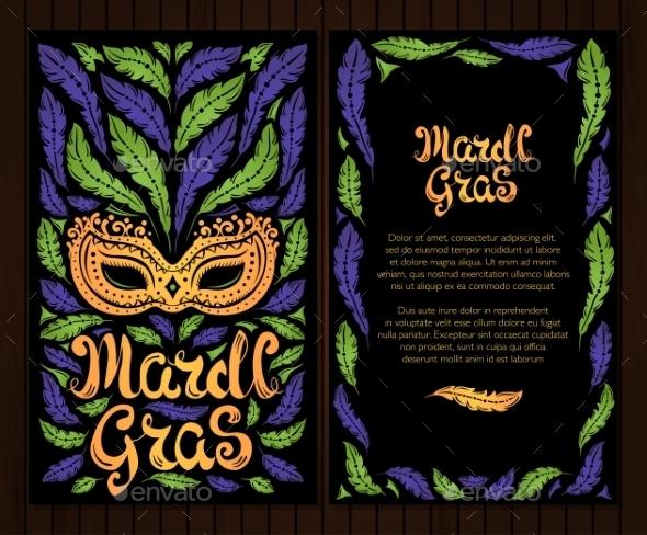Mardi Gras Celebration Poster with Venetian Mask - Miscellaneous Seasons/Holidays