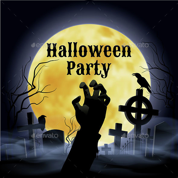 Halloween Party on a Spooky Graveyard - Miscellaneous Vectors