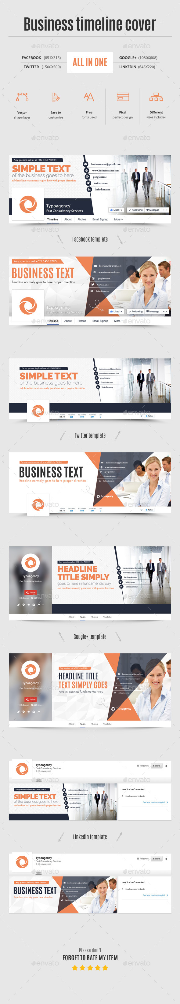 All in One Business Timeline Cover - Social Media Web Elements