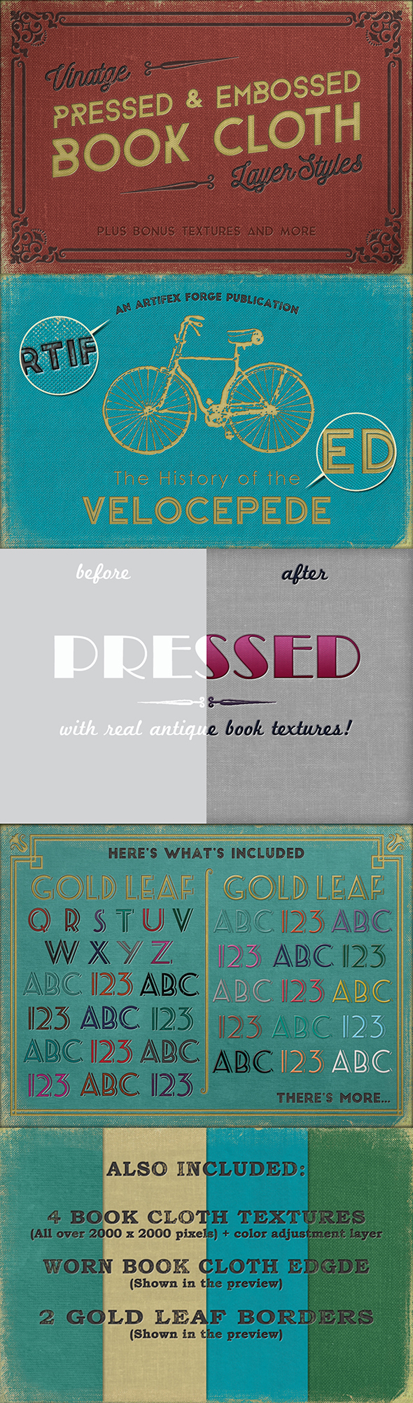 Vintage Pressed Book Styles+ Backgrounds & Borders - Styles Photoshop