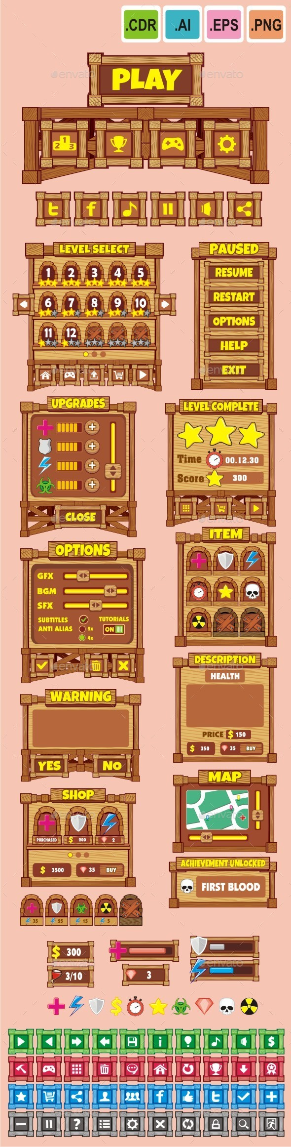 cartoon game gui pack 19 - User Interfaces Game Assets