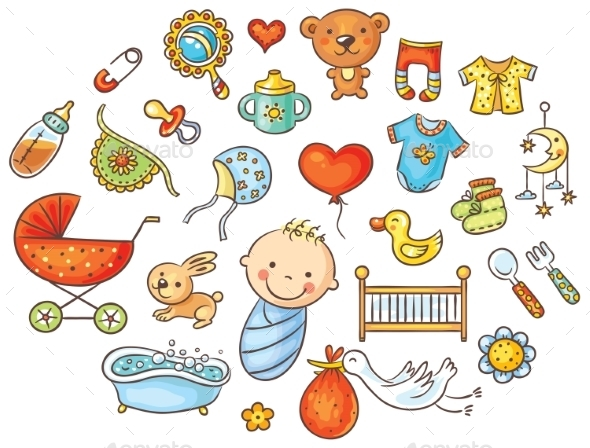 Colorful Cartoon Baby Set - People Characters