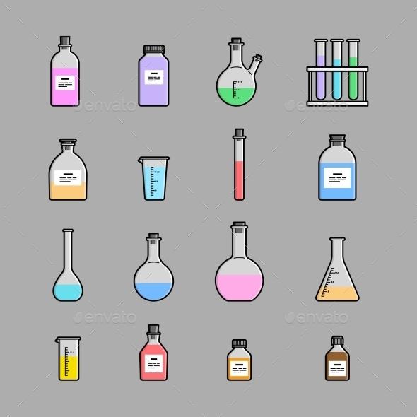 Chemical Glassware Icons Set - Miscellaneous Vectors