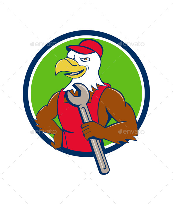 American Bald Eagle Mechanic Spanner Circle Cartoon - Animals Characters