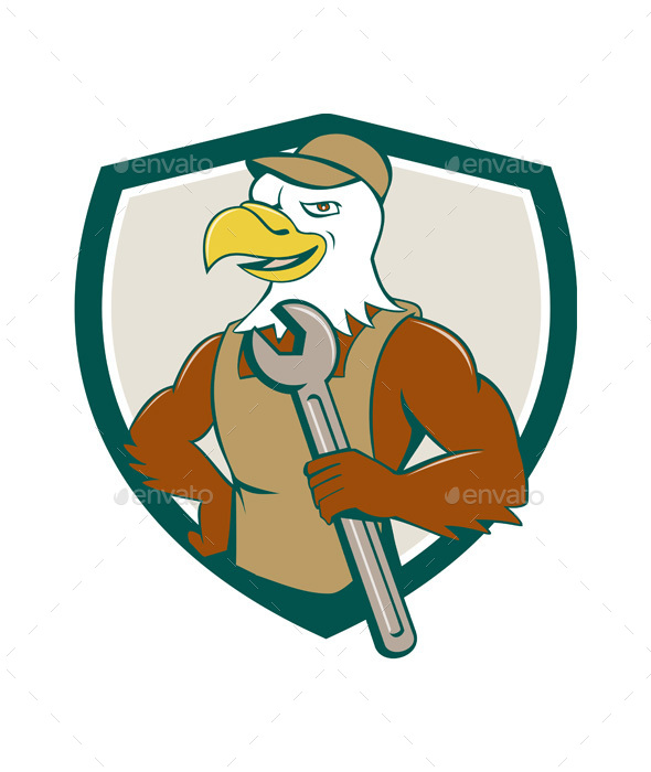 American Bald Eagle Mechanic Spanner Crest Cartoon - Animals Characters