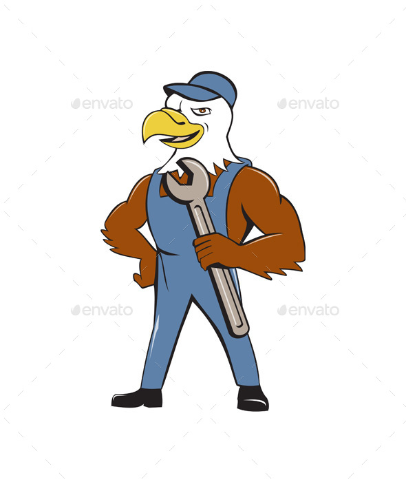 American Bald Eagle Mechanic Spanner Cartoon - Animals Characters