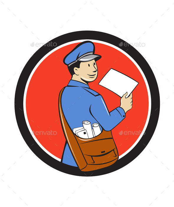 Mailman Deliver Letter Circle Cartoon - People Characters