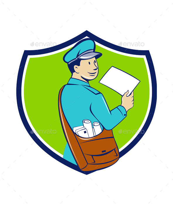 Mailman Deliver Letter Crest Cartoon - People Characters
