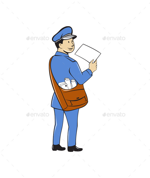 Mailman Deliver Letter Isolated Cartoon - People Characters