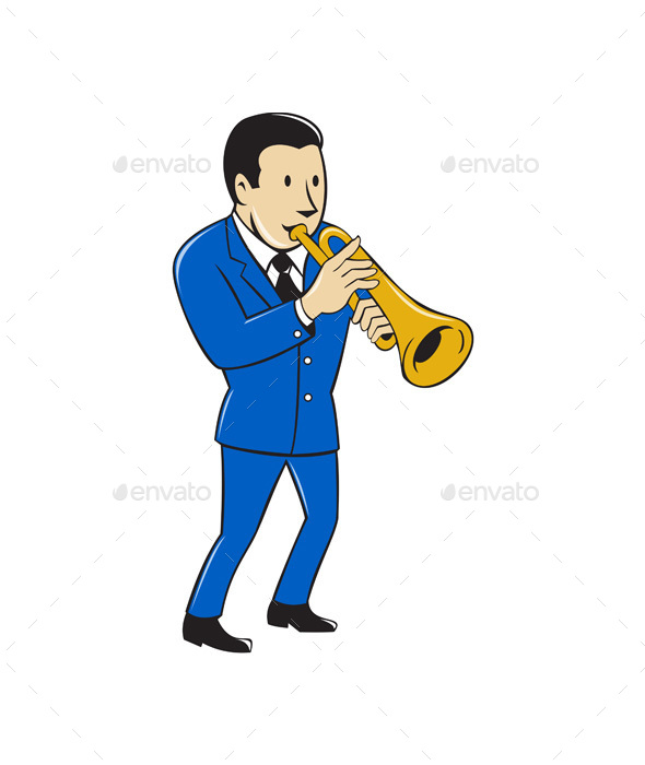 Musician Playing Trumpet Cartoon - People Characters