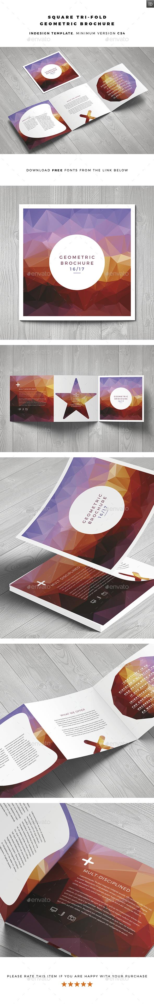 Square Geometric Brochure - Brochures Print Templates