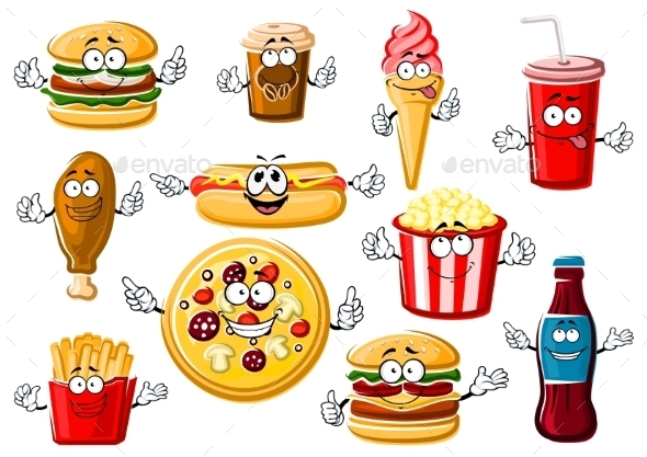 Cartoon Fast Food, Desserts and Drinks - Food Objects