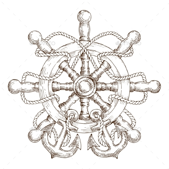 Sketch of Nautical Helm with Rope and Anchors - Travel Conceptual