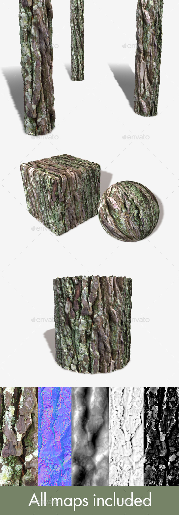 Bark Moss Seamless Texture - 3DOcean Item for Sale