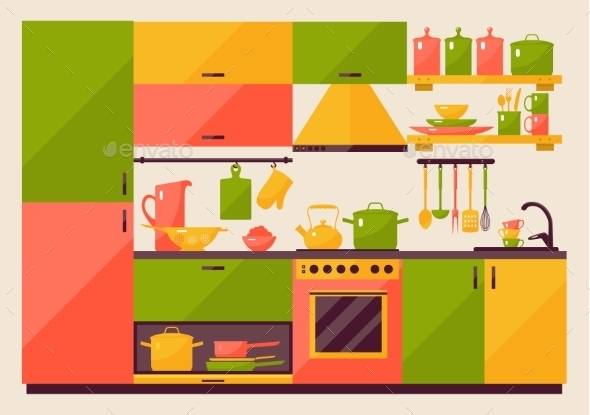 Kitchen with Furniture  - Miscellaneous Vectors