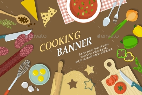 Cooking Banner with Kitchenware - Miscellaneous Vectors