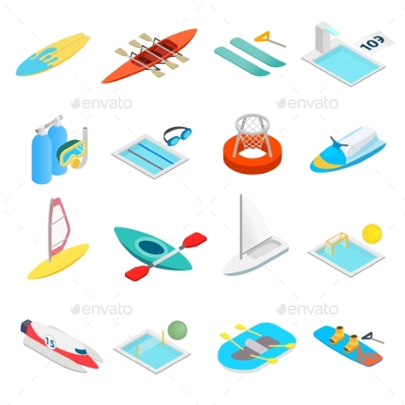 Water Sport Isometric 3d Icons - Miscellaneous Icons