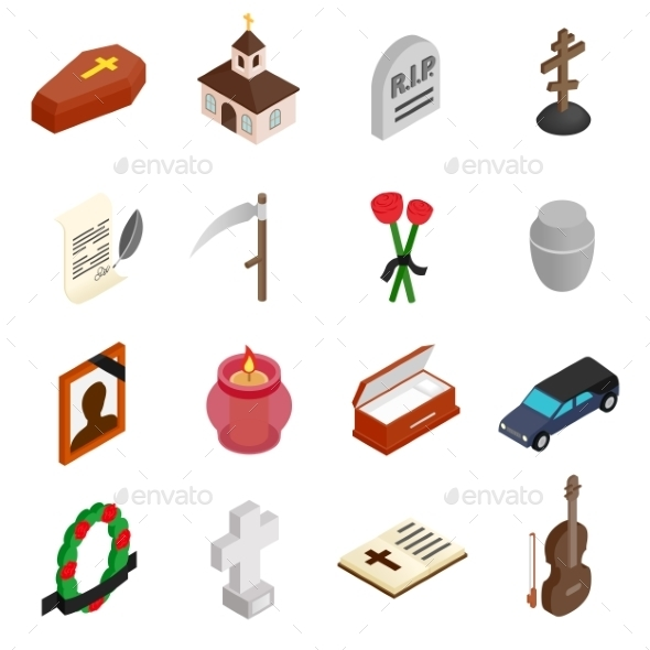 Funeral And Burial Isometric 3d Icons - Miscellaneous Icons