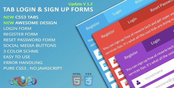 Tab Login & Sign Up Forms - CodeCanyon Item for Sale