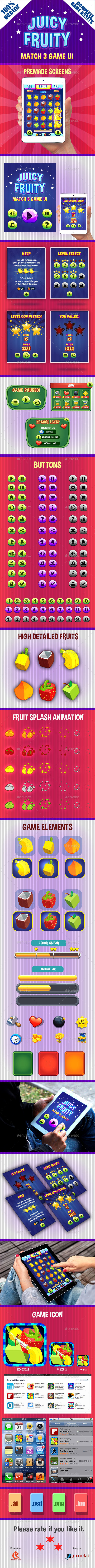Match 3 Game Ui - User Interfaces Game Assets