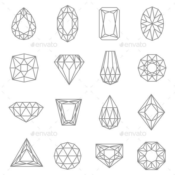 Jewels Line Icons Set  - Man-made objects Objects