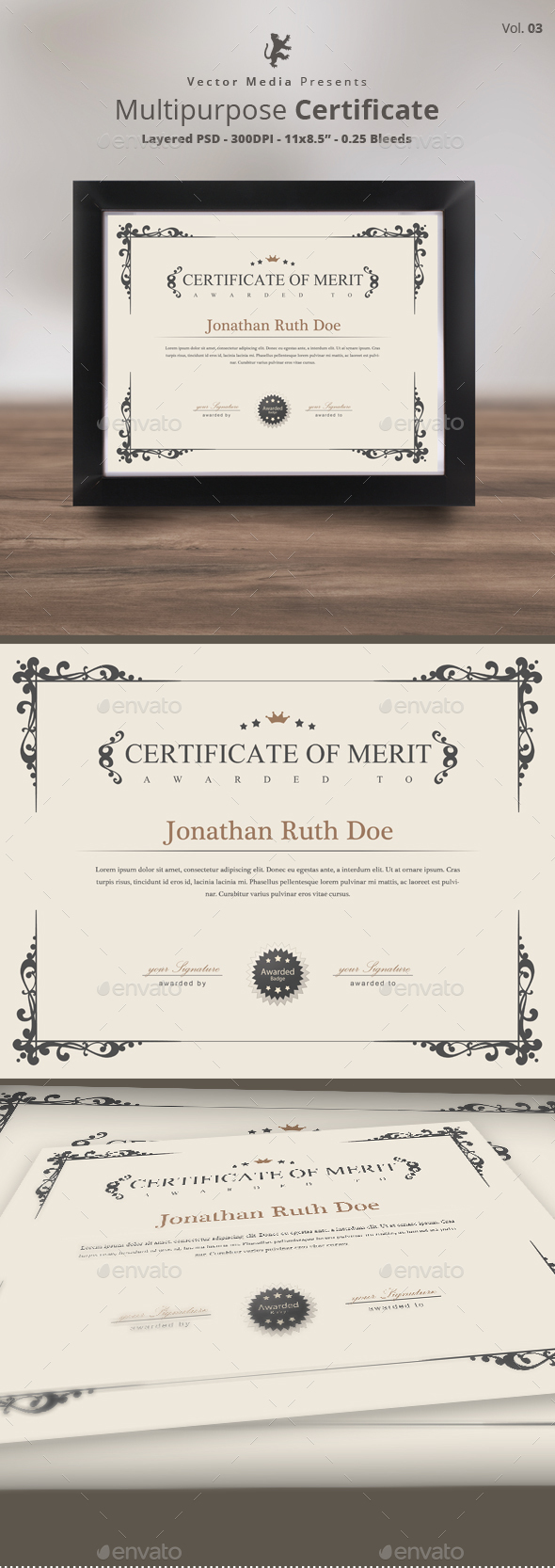 Multipurpose Certificate [Vol.03] - Certificates Stationery