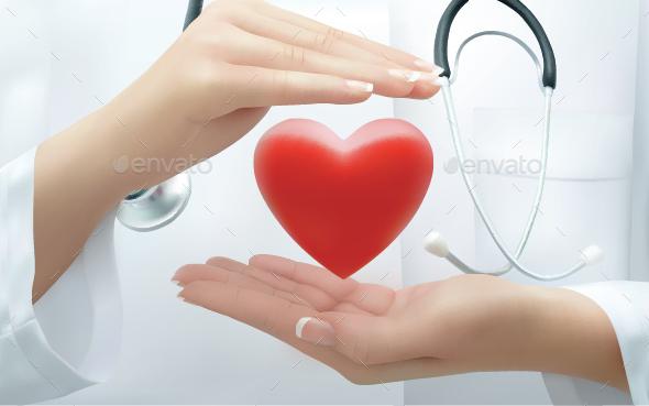 Doctor Holding  Heart - Health/Medicine Conceptual