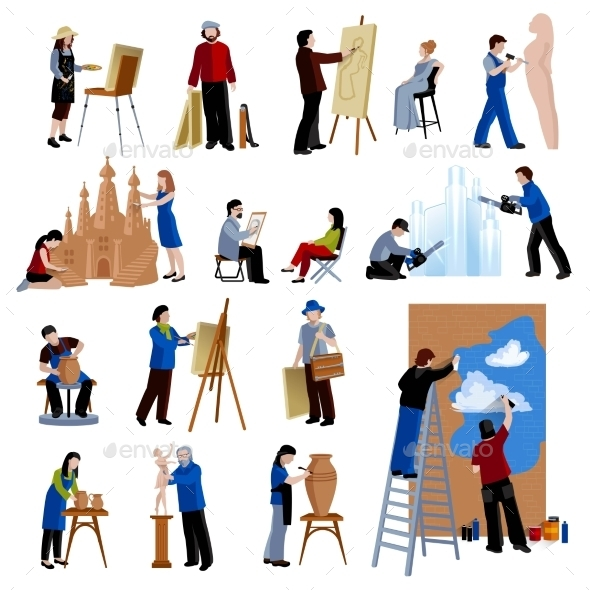 Creative Profession People Icons Set - People Characters