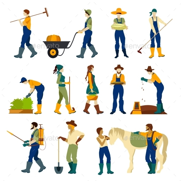 Farmers At Work Flat Icons Set  - People Characters