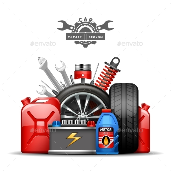 Car Service Composition Ad  Flat Illustration - Technology Conceptual