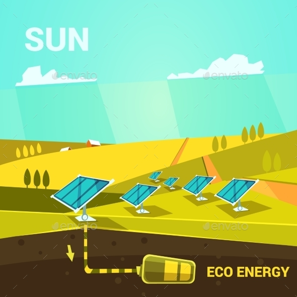 Ecologycal Energy Cartoon - Nature Conceptual