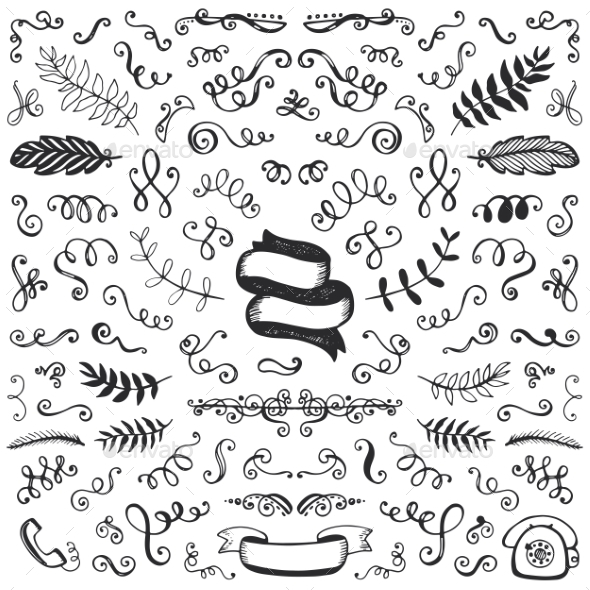 Set Of Vintage Sketch Elements - Borders Decorative