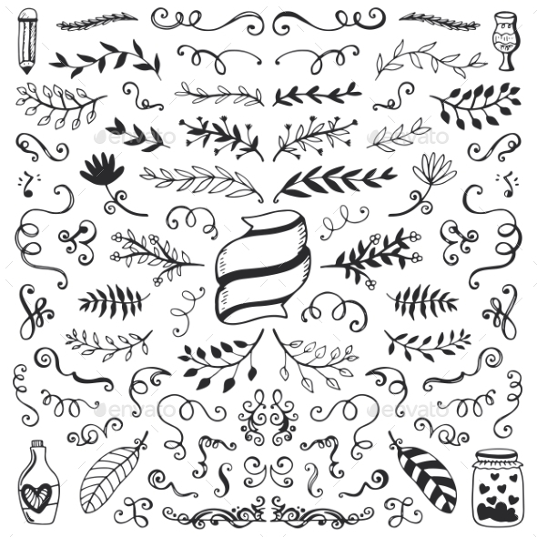 Set Of Vintage Sketch Elements - Borders Decorative