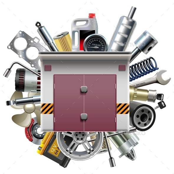 Vector Garage with Car Spares - Industries Business