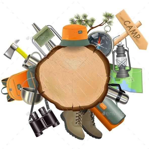 Vector Wooden Board with Camping Accessories - Travel Conceptual