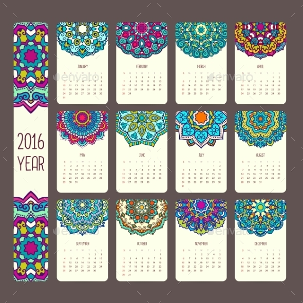 Calendar 2016 with Mandalas - Patterns Decorative