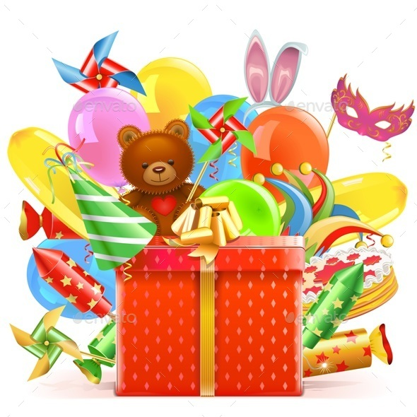 Vector Celebration Concept with Gift - Seasons/Holidays Conceptual