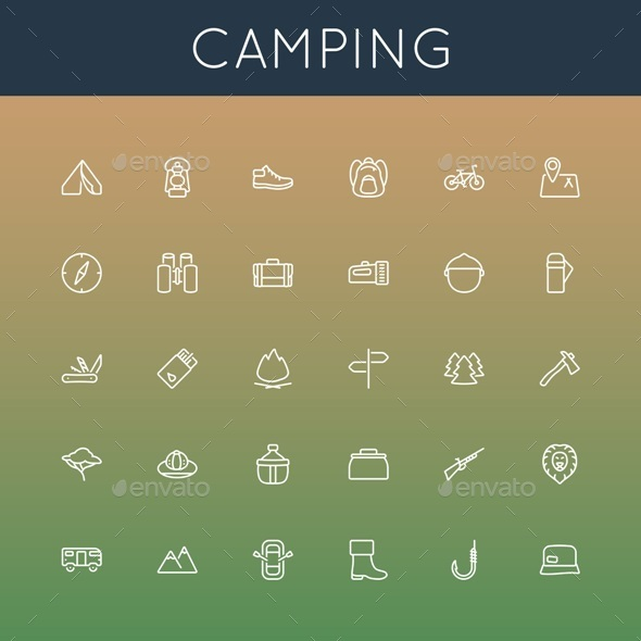 Vector Camping Line Icons - Miscellaneous Icons