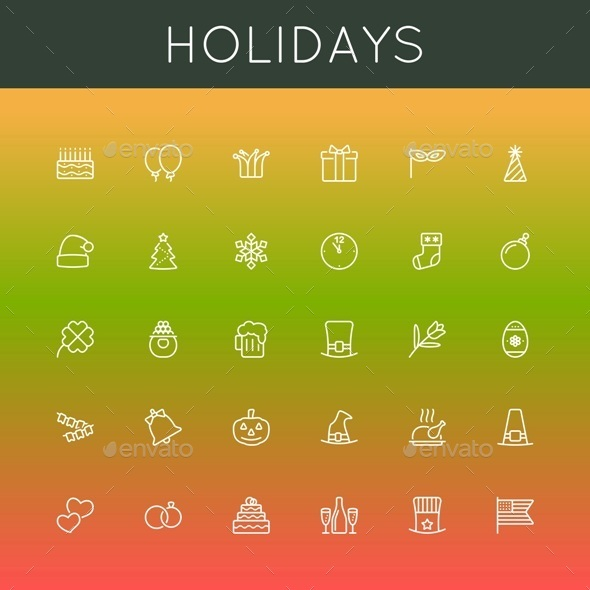 Vector Holidays Line Icons - Seasonal Icons