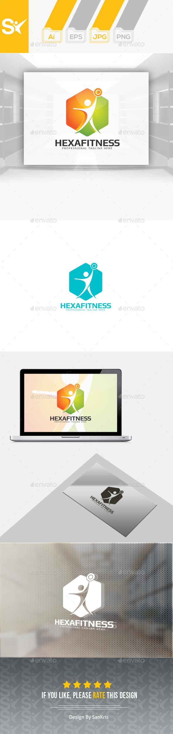 Fitness Hexa Logo - Humans Logo Templates