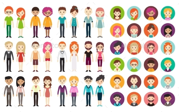 Collection of Different Men and Women - People Characters