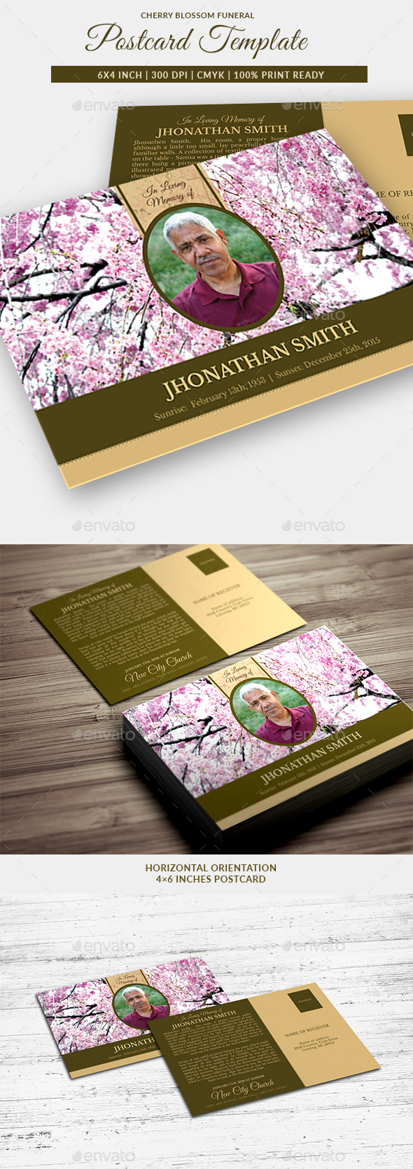 Cherry Blossom Funeral Post Card Template - Miscellaneous Print Templates