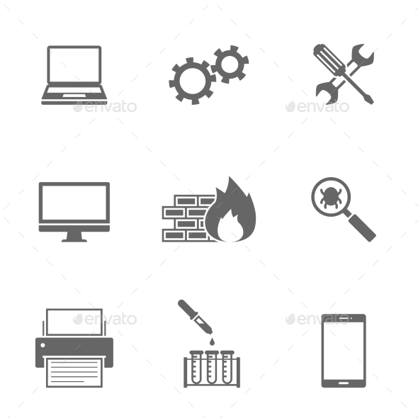 Computer Service Icons Set - Icons