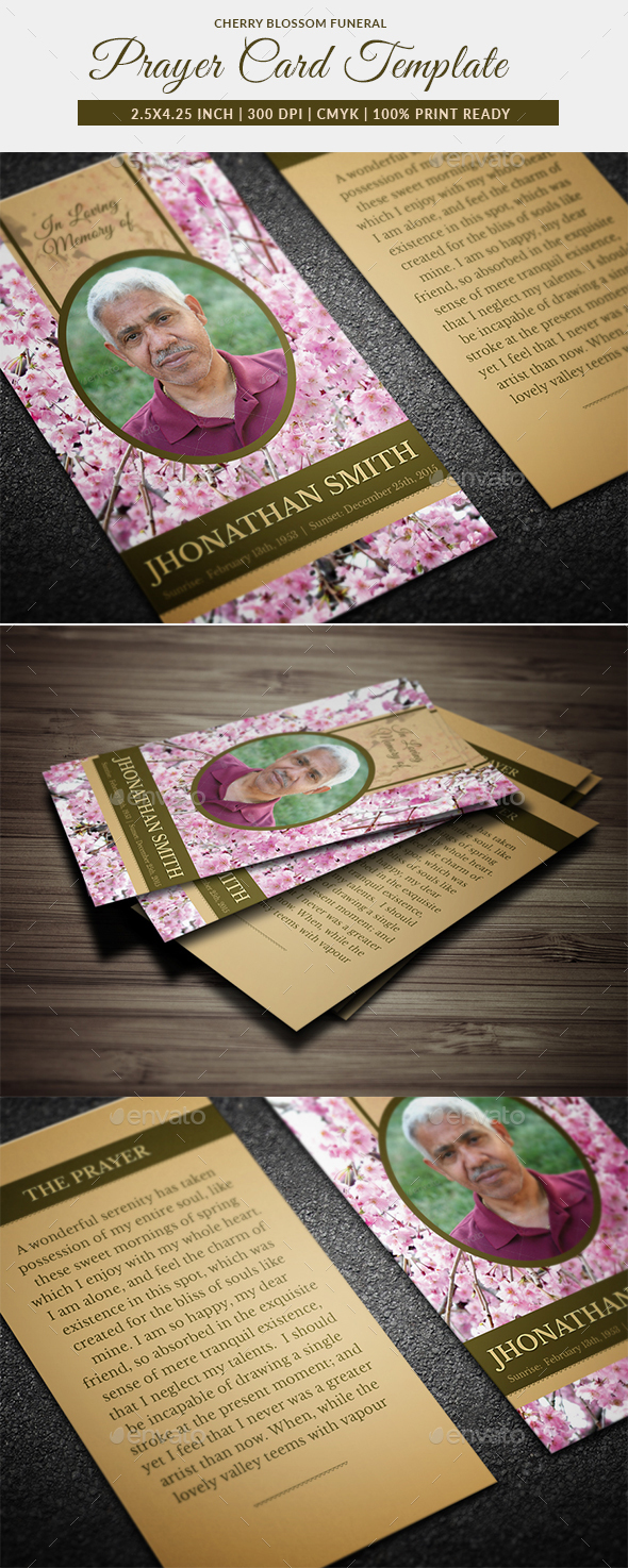 Cherry Blossom Funeral Prayer Card Template - Cards & Invites Print Templates