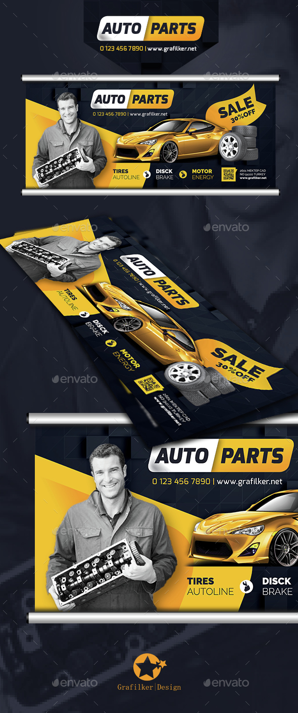Auto Spare Parts Billboard Templates - Signage Print Templates