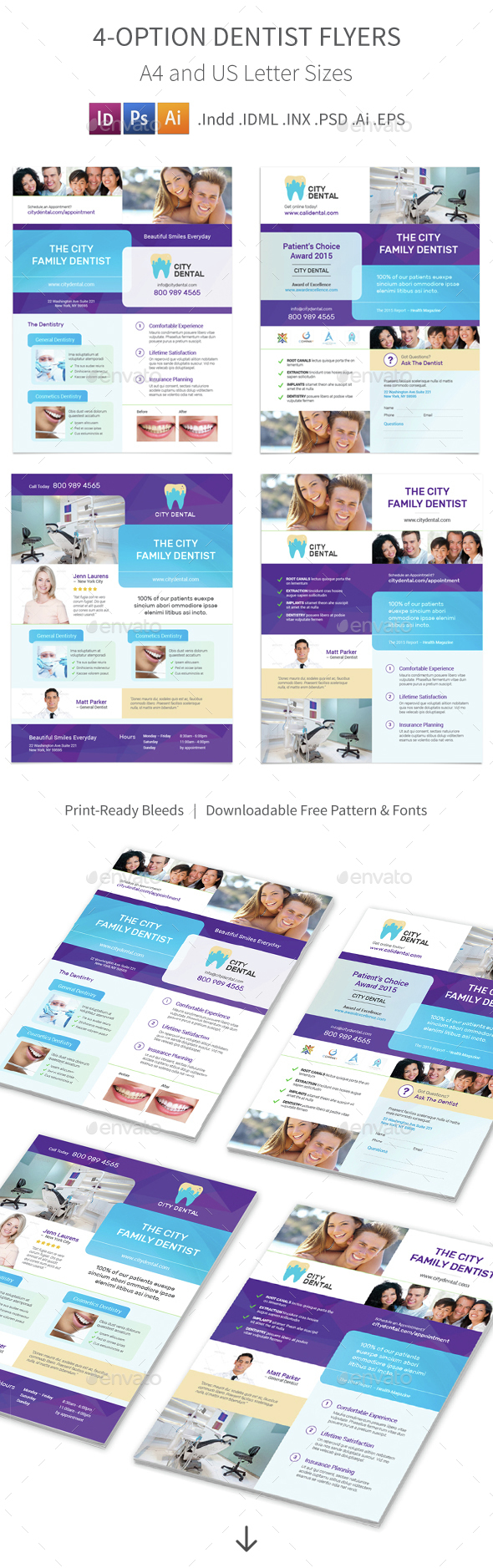 Dentist Flyers  4 – 4 Options - Corporate Flyers
