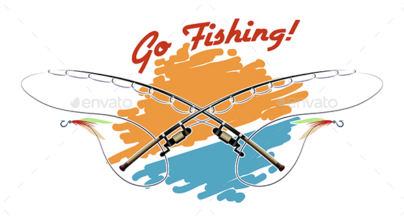 Go Fishing Emblem - Sports/Activity Conceptual
